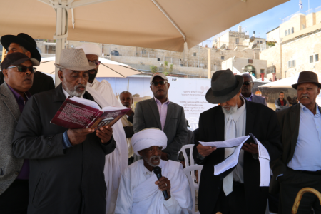 The Ethiopian community came to the Western Wall to celebrate the Sigad Festivity that shows their connection to Jerusalem