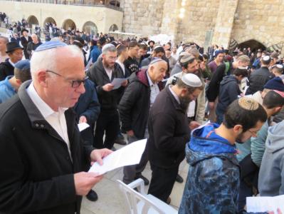 מאות השתתפו בתפילת ההודיה על הגשם שנערכה בכותל המערבי
