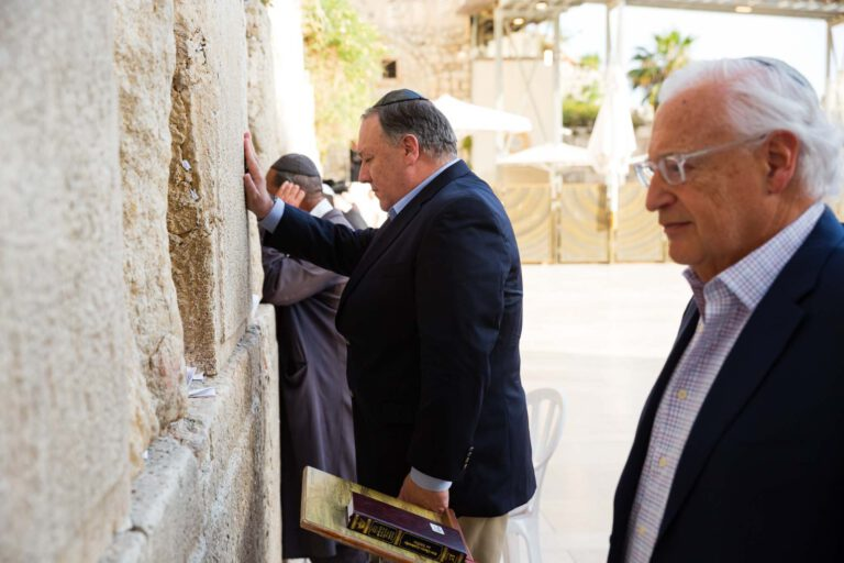 Former Secretary of State Mike Pompeo prays at the Western Wall and visits the Western Wall Tunnels