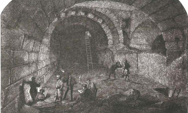 """צ'רלס וורן חופר פיר בקשת וילסון, תחריט עץ על-פי רישום של וורן, ה'תרכ""""ח, 1868"""